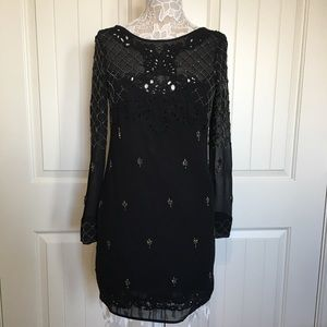 Free People Black Beaded Lace Dress